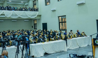 The Edo State Governor, Mr Godwin Obaseki, addressing a cross-section of Justices and members of the Bar in the Edo State Judiciary, at the High Court Complex, in Benin City, the Edo State capital… on Friday, November 27, 2020.