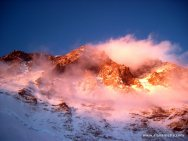 Everest from Western Cwm Camp 2 at sunset
