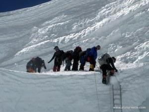 Climbing in Khumbu Icefall