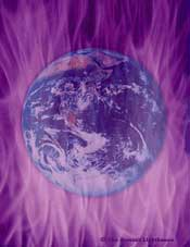 Violet flame sweeping across the earth as freedom's flame