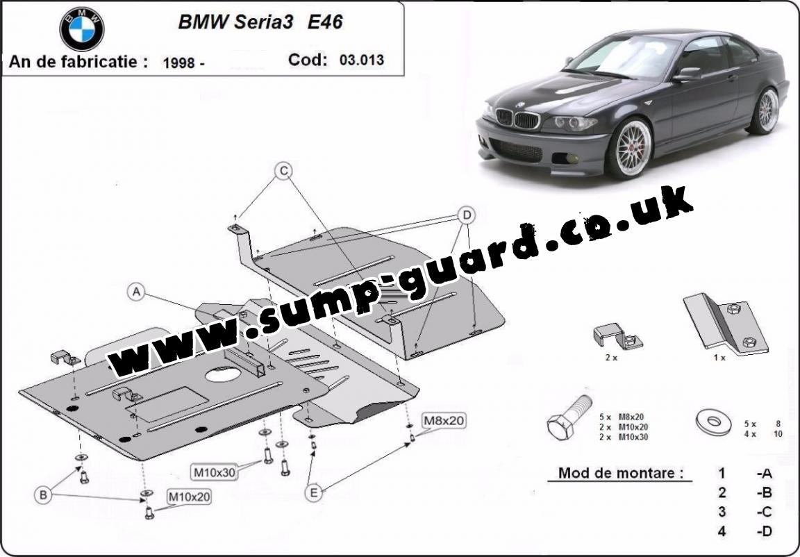 Steel Sump Guard For Bmw Seria 3 E46