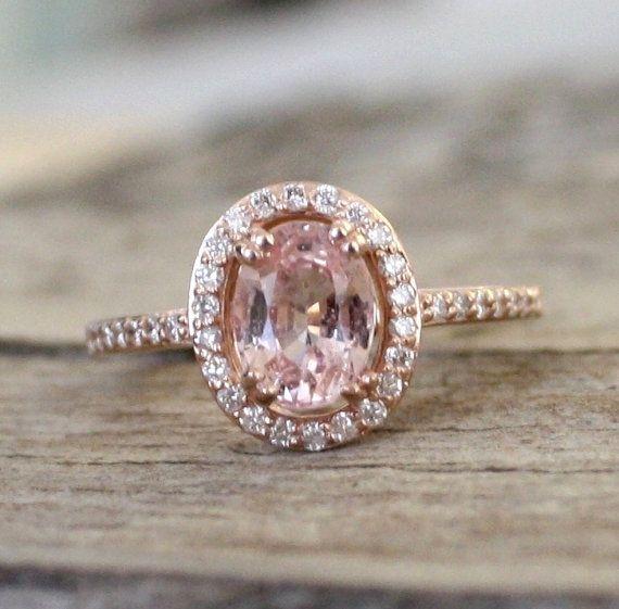 Peach sapphire engagement rings Sumuduni Gems