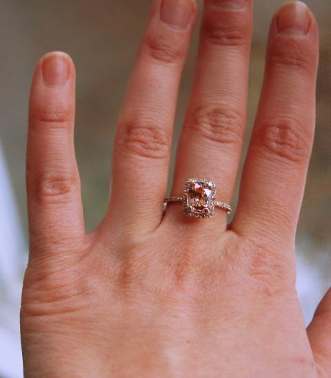 Rose gold peach sapphire engagement ring 11 carat 14 k rose gold peach sapphire rings in rose gold junglespirit Choice Image