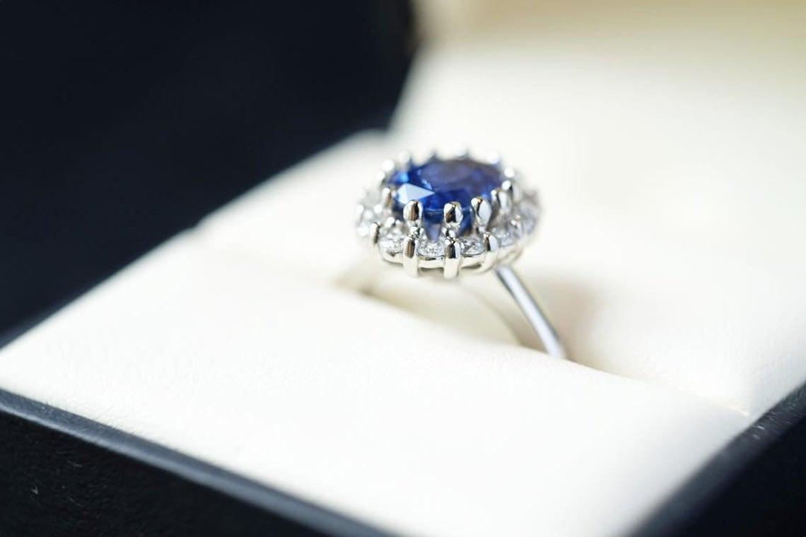 Princess Diana Engagement Ring White Gold