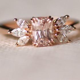 Unique peach sapphire diamond rose gold engagement ring