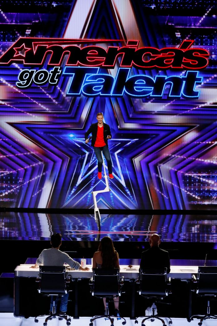 Wesley Williams of Weston, is performing an extreme unicycle routine for the judges of America's Got Talent.