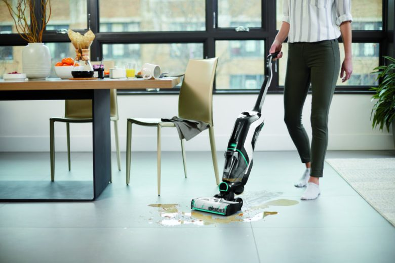 The BISSELL CrosWave vacuums and washes your floors at the same time.