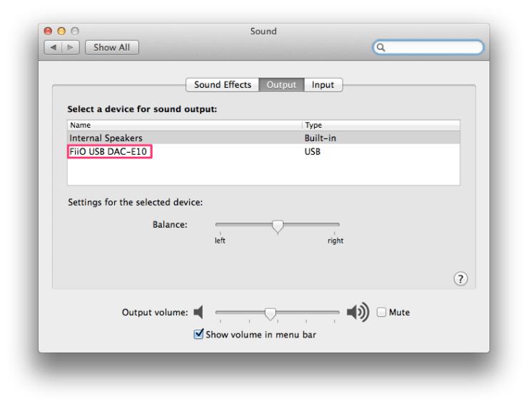 Mac OS X Sound Preferences - FiiO E10K