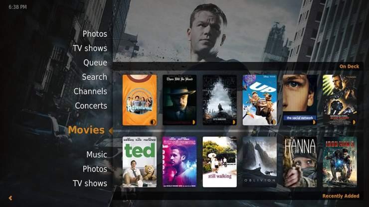 Plex Home Theater Interface