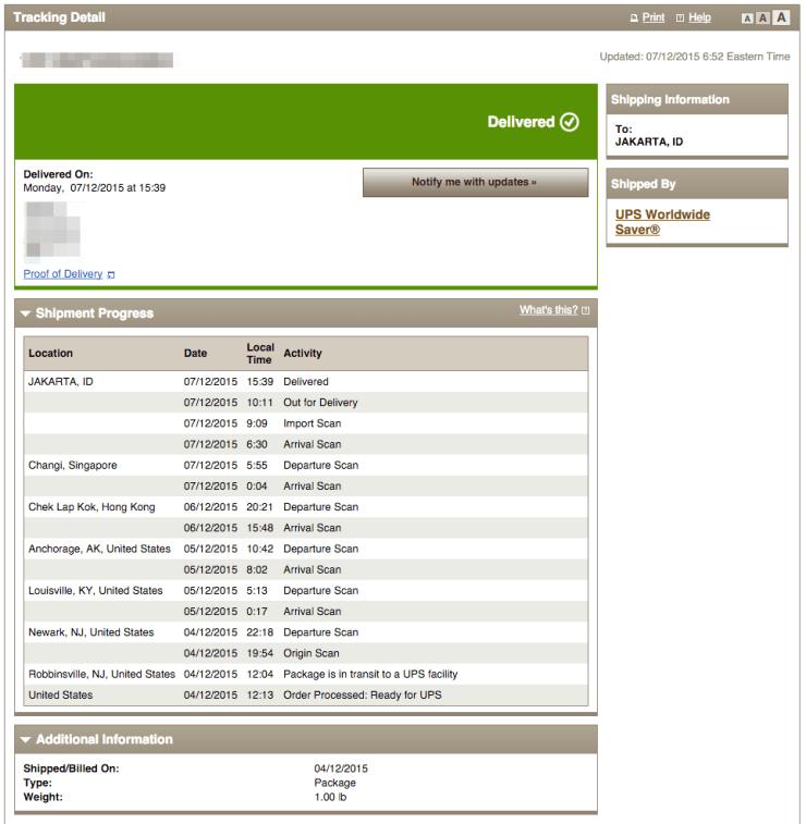 UPS Tracking Information