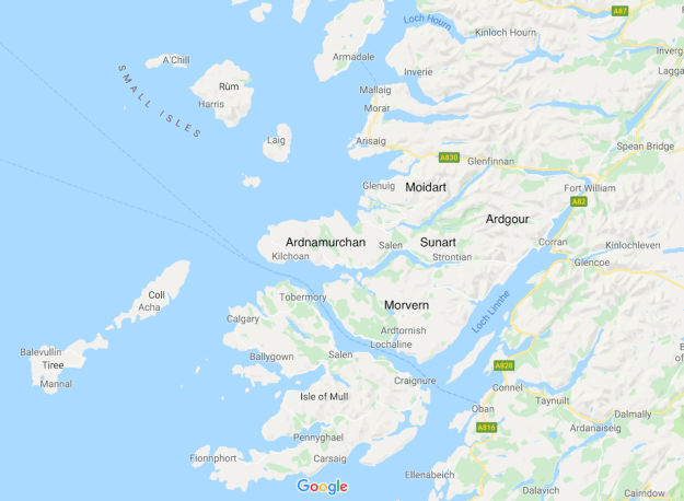 Ardnamurchan and the nearby regions