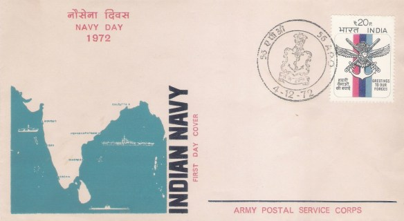 "The first ""Navy Day"" on December 04 was celebrated in 1972. On this Day when the Navy dedicated itself anew to the service of the nation, the Army Postal Service Corps (56 APO) brought out a Special Cover to commemorate the Navy Day on 4 December 1972."