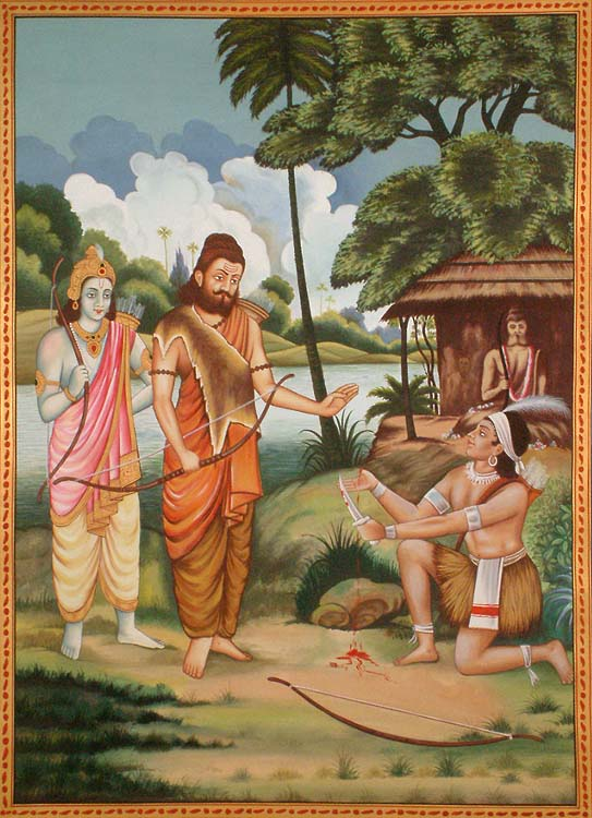 Eklavya made to cut off his arching thumb by Drona as 'Guru Dakshina' (Pic courtesy: mug.shainsingh.com)