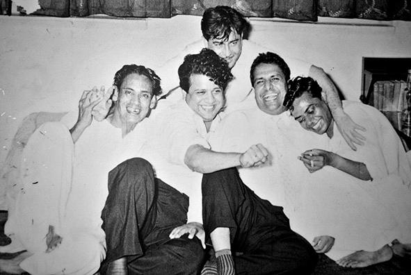 Shailendra (extreme right) with Hasrat Jaipuri and Shankar-Jaikishan (Pic courtesy: Cinema Sangeet)