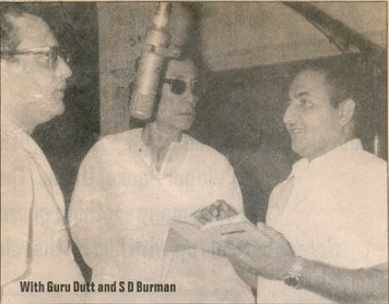 Mohammad Rafi with Guru Dutt and SD Burman