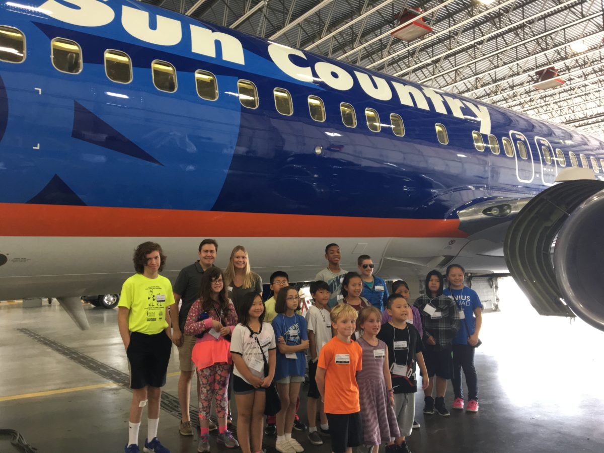 Aviation Love: Local Students Tour Sun Country Hangar