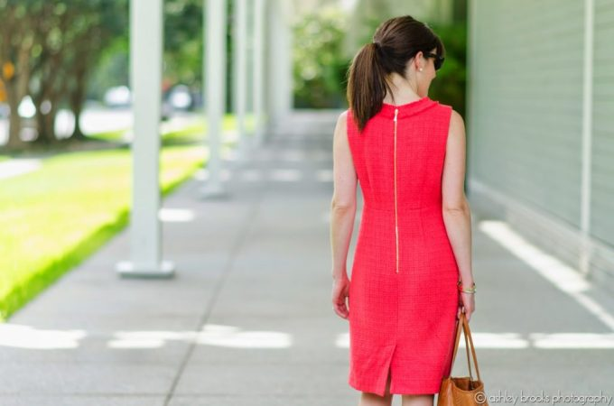 Tweed Shift, Coral Dress