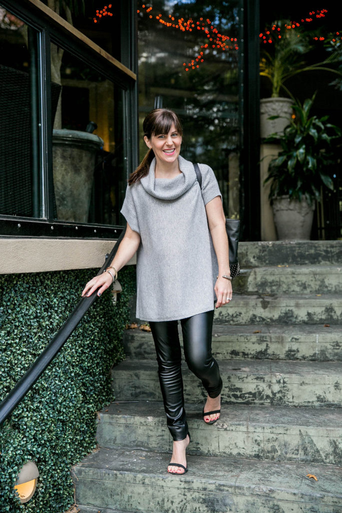 Vince Cashmere Turtleneck Sweater | c/o Seraphine Faux Leather Maternity  Leggings | Steve Madden 'Realove' Heels | c/o Elaine Turner Bennett Tote