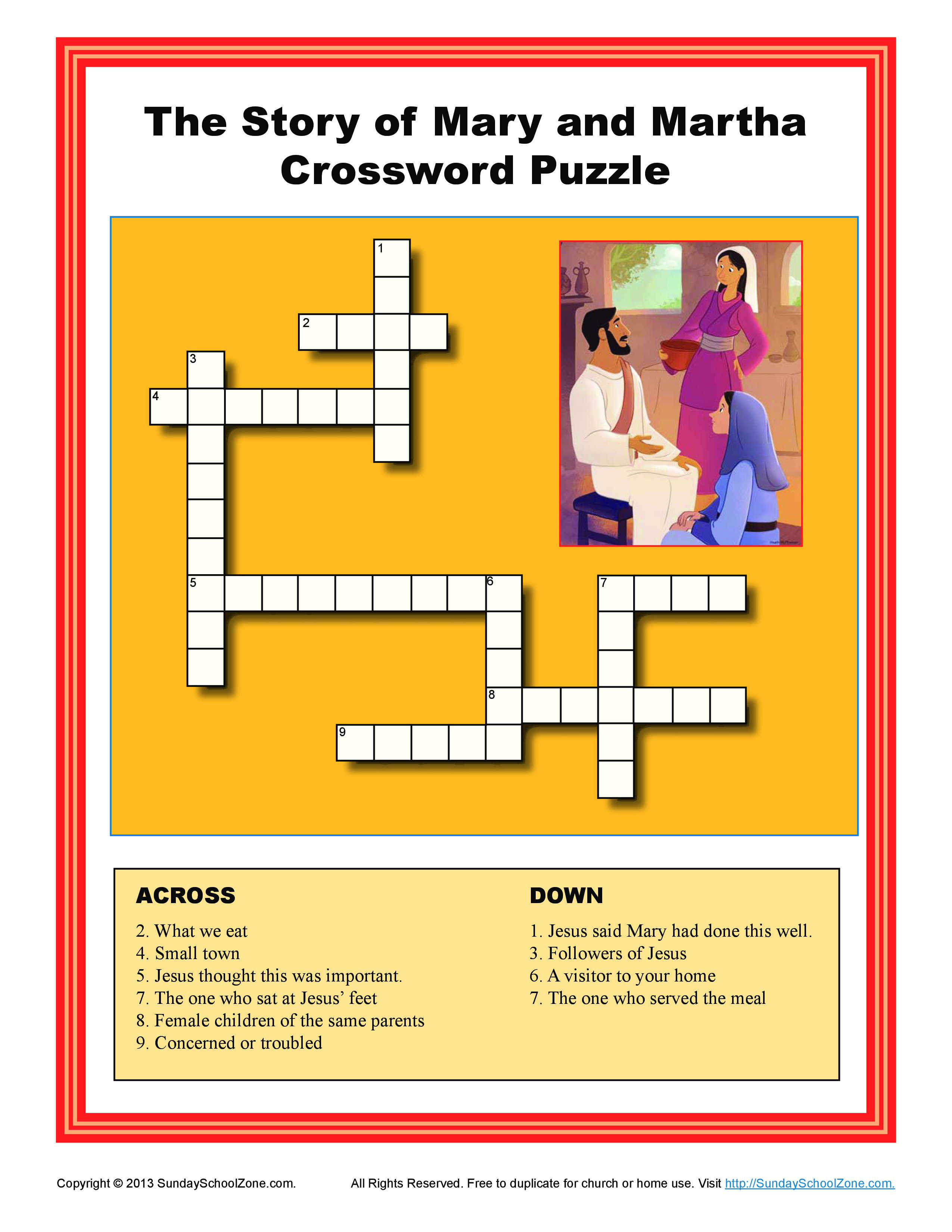 Mary And Martha Crossword Puzzle