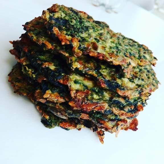 Sprøde spinatbrød