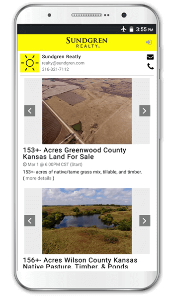 App for land auctions and property auctions on mobile phone