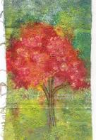 Red Tree on fabric