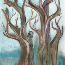 Tree in watercolor and ink fma