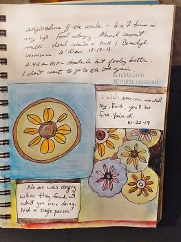watercolor and ink in sketchbook journal