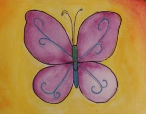 Purple and yellow butterfly transformation