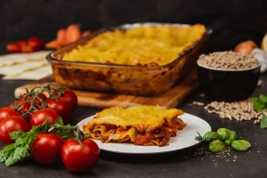 Sunflower Hache Lasagna with a slice taken out