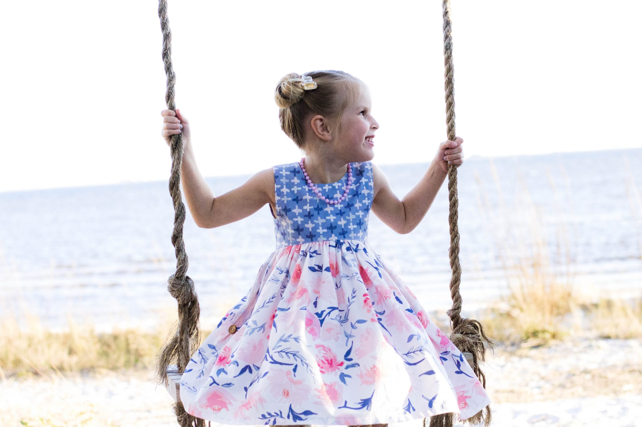 Sunflower Seams | Jaimesyn's Double Flutter V Back Top and Dress, Simple Life Pattern Company, SLPco, PDF Sewing Patterns, Girls Size 2t-12, V Back, Full Back, Flutters, Pockets, Pleated Hem, Art Gallery Fabrics, Going Home To Roost, Wonderful Things, Beach, Swing