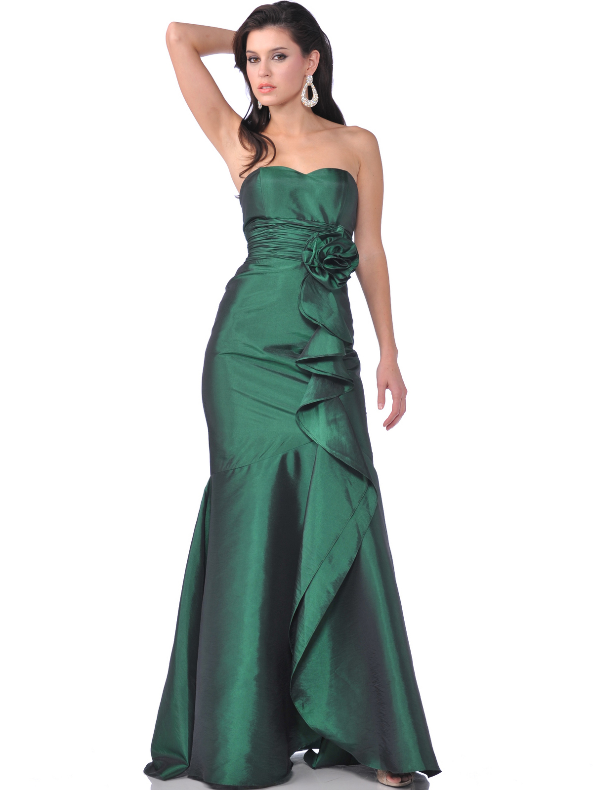 Strapless Evening Dress With Rosette Decore Sung
