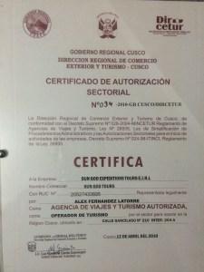 Sun God Peru Certification