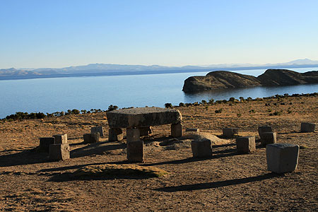 Titicaca Lake and Sun island view