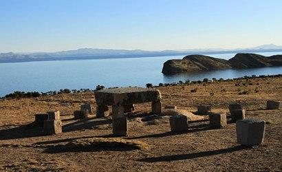 Titicaca Lake and Sun island view