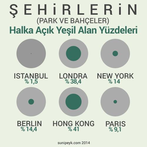 Şehirlerin yeşil alan oran infografiği