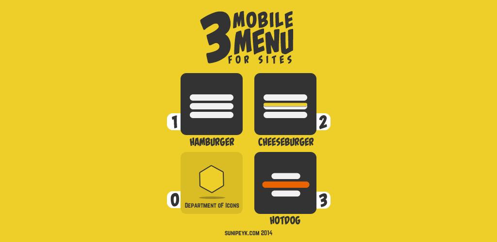 3 hamburger menü ikonu