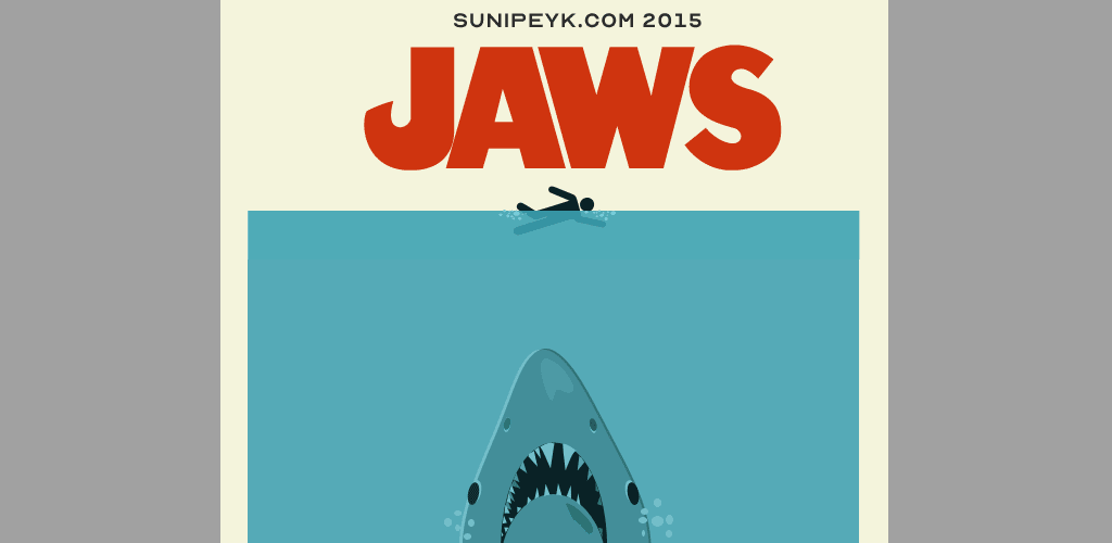 Jaws minimal flat poster