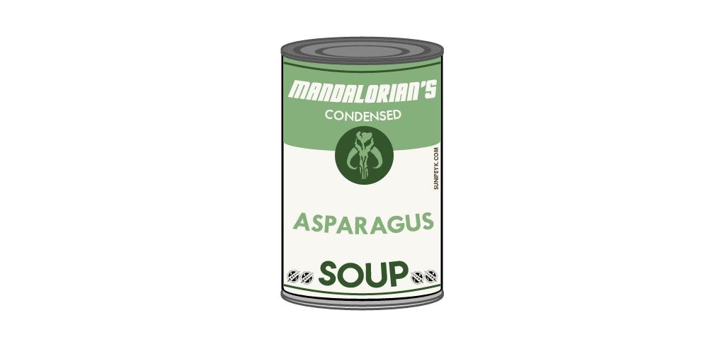 Mandalorian kuşkonmaz çorbası konserve kutusu.