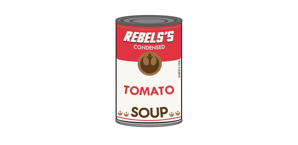 Star Wars isyancı domates çorbası konserve kutusu