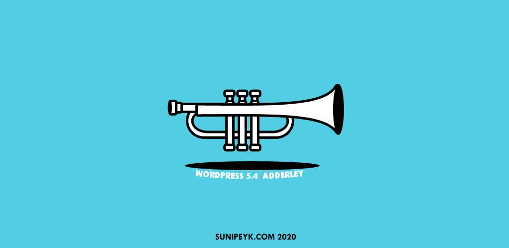 WordPress 5.4 sürümü Adderley için siyah beyaz bir trompet ikonu