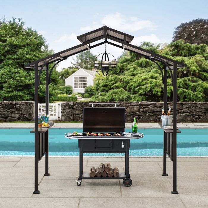 sunjoy 5 ft x 8 ft brown steel 2 tier grill gazebo hardtop with hook and shelves