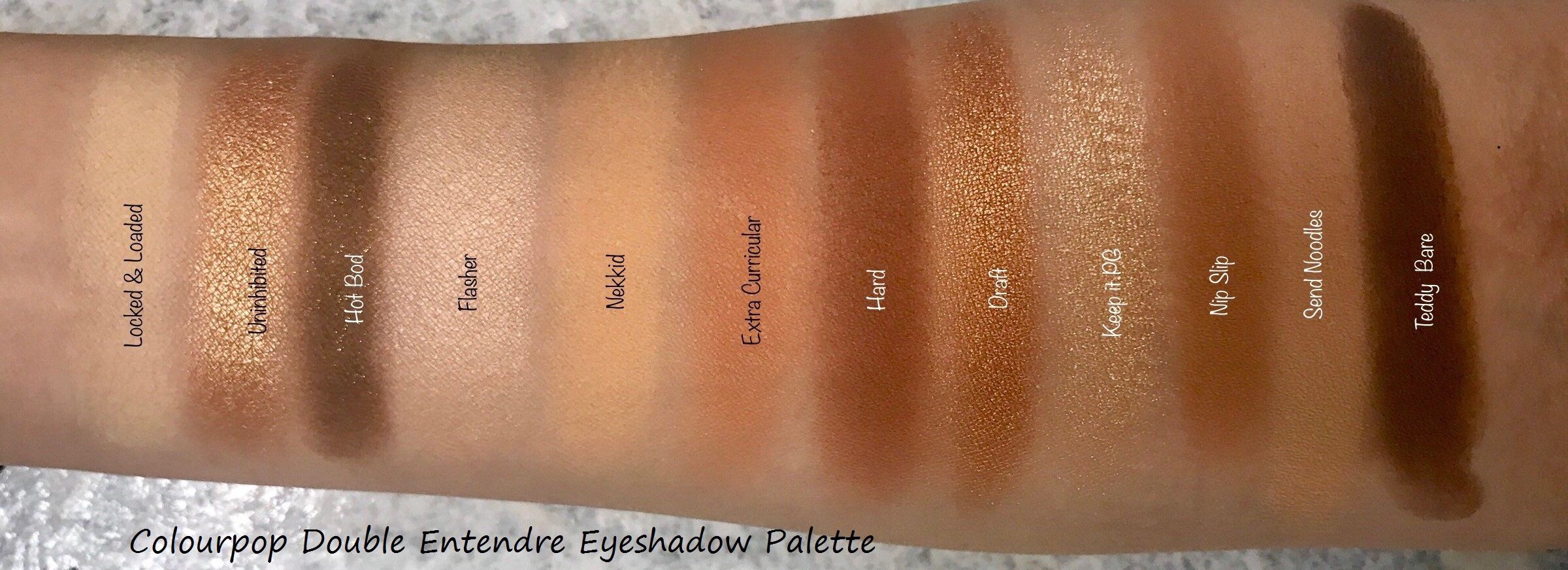 Colourpop Double Entendre Eyeshadow Palette Swatch And