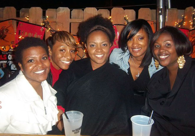my sissy hanging out with me and my college besties (also sisters)