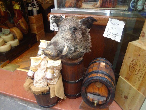okay, yes we love the pig and boar, but this is going too far! boars' heads were everywhere!