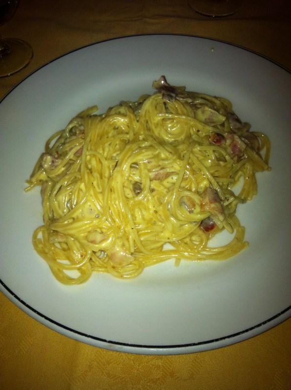 italian spaghetti, also known as spaghetti carbonara
