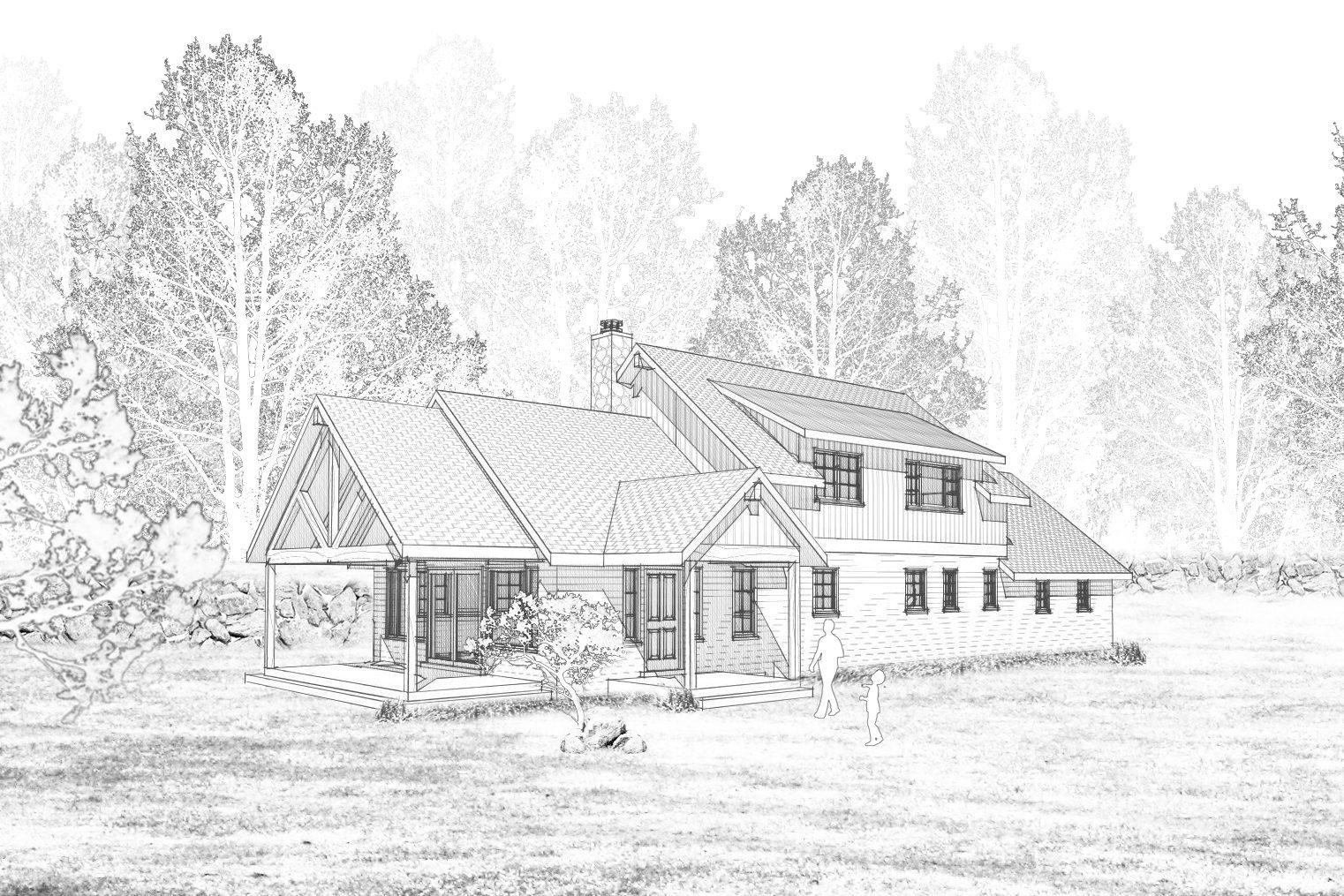 Mcgregor Sketch Rendering Shed Dormer Entry Gable Vaulted Truss Porch North View