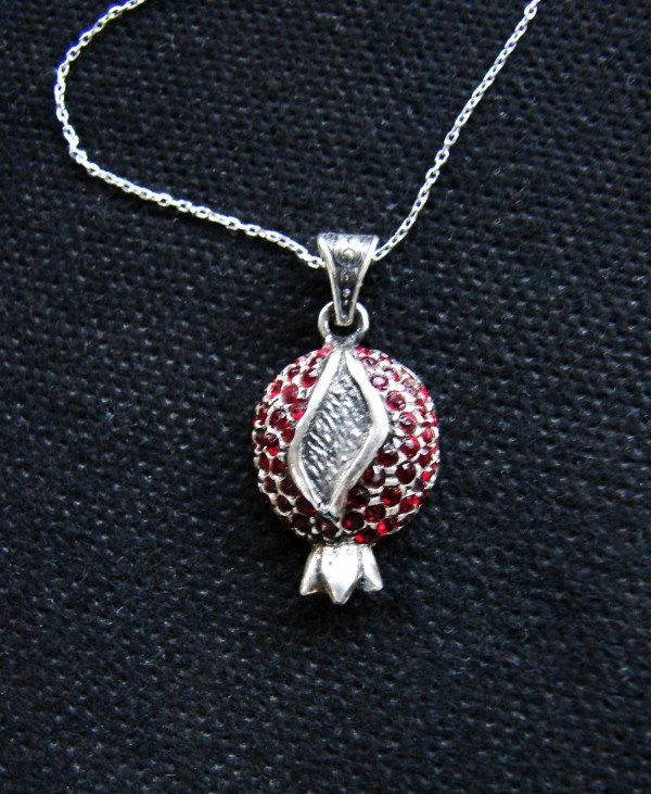 Necklace Pomegranate Sterling Silver 925 with Red Zircon