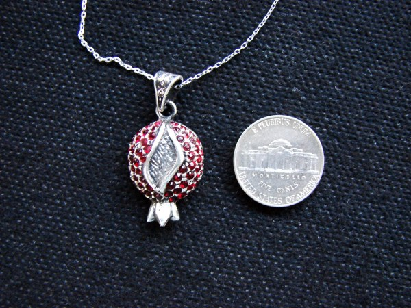Pomegranate Pendant Sterling Silver 925 with Red Zircon