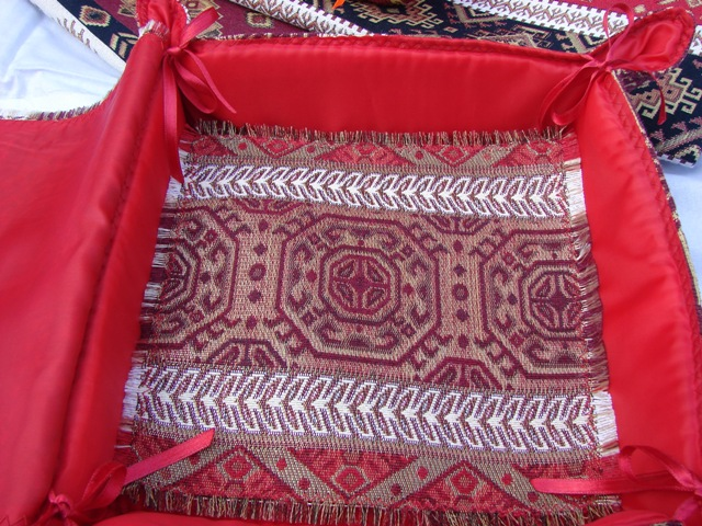 Fabric Bread Basket with Cover Armenian Carpet Ornament, Folding Storage Box